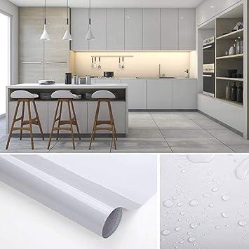 KINLO Tapeten Küche grau 61x500cm aus hochwertigem PVC Klebefolie Aufkleber  Küchenschränke wasserfest Aufkleber für Schrank selbstklebende Folie ...