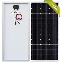 Newpowa - Panel solar monocristalino de 100 W, 12 V, panel solar monocristalino, fotovoltaico para caravanas, casetas de…