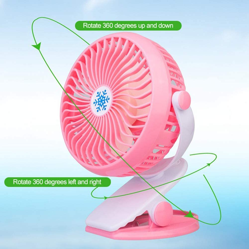 GrmeisLemc 360 Degree Rotary Speed Adjustable Mini Cooling Fan Clip-on Rechargeable Cooler Black