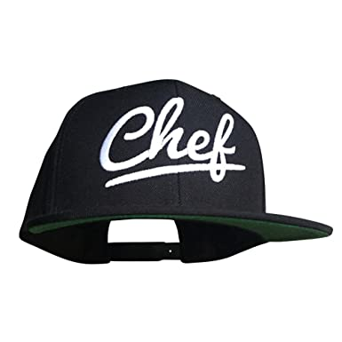 46838a4a7fb Image Unavailable. Image not available for. Color  10oz Apparel Black flat  bill Snapback cap chef ...