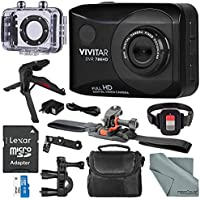 Vivitar DVR786 Full HD Waterproof Action Camera (Black) Accessory Bundle with Xpix Tripod + 32GB + Case + Fibertique Cloth