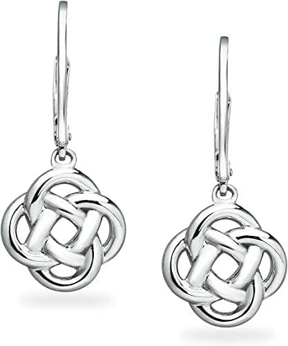 Sterling Silver Sterling Silver Love Knot Flower Dangle Leverback Earrings Hoops /& Loops Yellow and Rose Flash Plated Black