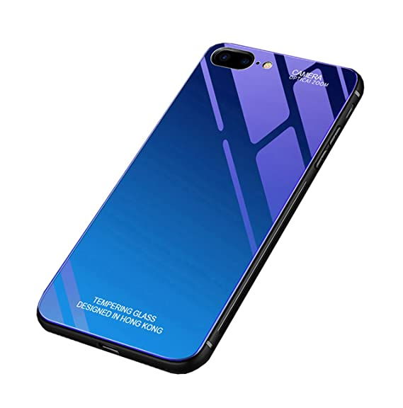 56961490e90 Seabaras iPhone 8 Plus Case Gradient Color Aurora Tempered Glass Case 9H Blue  Ray Back Cover