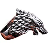 V-ZONE Ice Wolf Stainless Steel Silver Ring Inspired by Game of Thrones