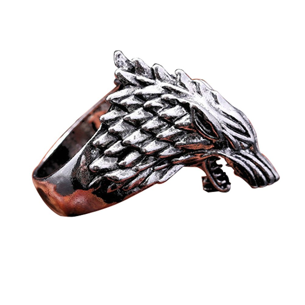 V-ZONE Ice Wolf Stainless Steel Silver Ring Inspired by Game of Thrones (10)