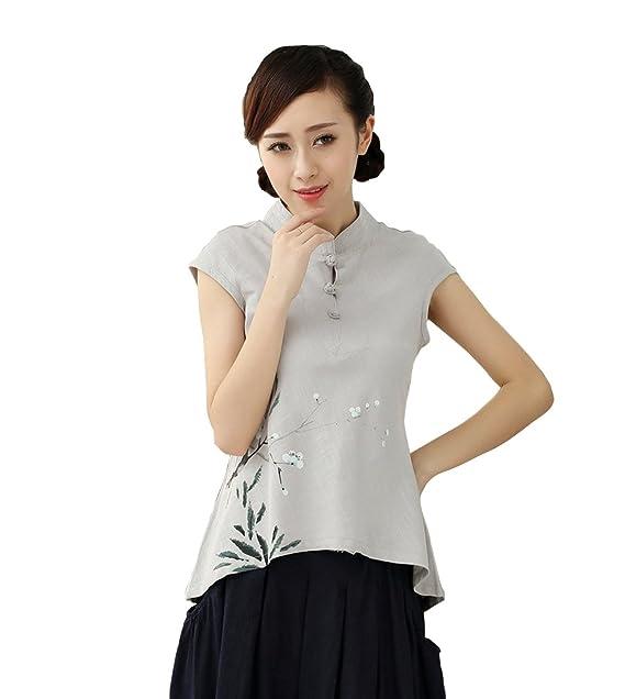 YueLian Mujeres Elegante Verano Casual Lino Manga Corta Traje Chino Camisa Blusa Camiseta Top Gris (