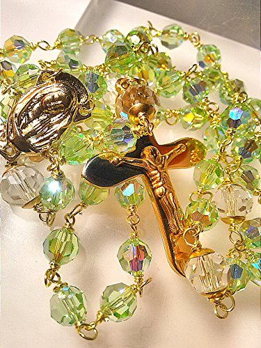 HANDMADE SOLID RAW BRASS WIRE WRAPPED ITALIAN VIRGIN MARY CENTERPIECE STAINLESS STEEL CRUCIFIX ROSARY WITH GENUINE SWAROVSKI AB LT.GREEN 8MM ROUND CRYSTAL 5000 STYLE (Wire Crucifix)
