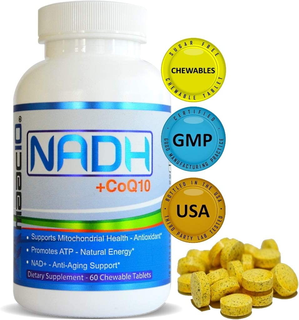 MAAC10 NADH + CoQ10 Supplement | Supports Fatigue, Energy and NAD+ | Active Vitamin B3 | 50mg PANMOL® NADH + 100mg CoQ10 | 60 Tasty Chewable Tablets 2 per Serving