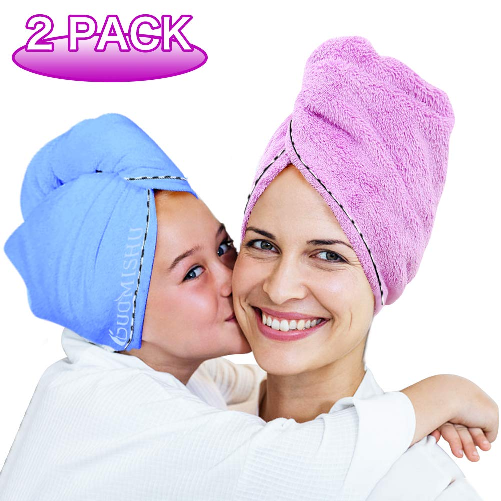2 Pack Bigger Plus Size Hair Towel Wrap Turban Microfiber Drying Bath Shower Head Towel with Buttons, Quick Magic Dryer, Dry Hair Hat, Wrapped Bath Cap By Duomishu (Blue & Purple) by Duomishu