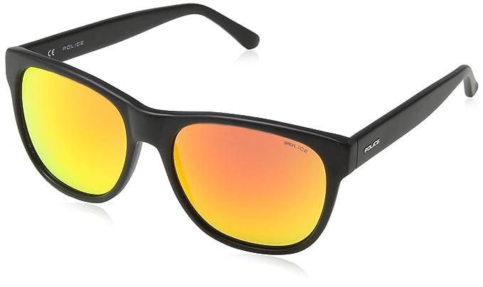 Police S1909 Louma 1 Rund Sonnenbrille, Matt Black Frame/orange Mirror Lens