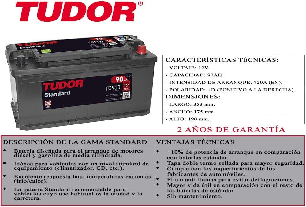 BATERIA COCHE 90Ah 720A 12V TUDOR STANDARD TC900