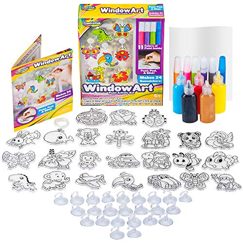 Window Paint Art Stickers Kit Kids - Children's Make Your Own Fun Suncatchers Set - [24] Sun Catchers, [24] Suction Cups & [11] Paints - DIY Car Window & Mirror Arts & Crafts Kit Children (Mirror Arts And Crafts)