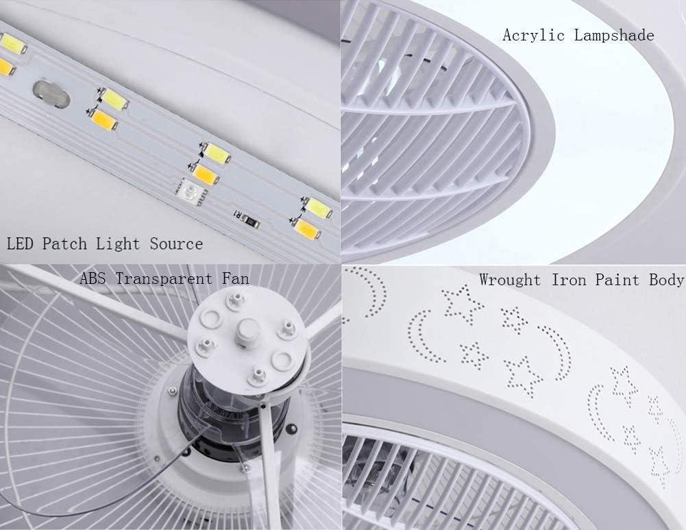 plegado restaurante ara/ña,Black y el control remoto 84W // 58cm techo LED modernos ventiladores de techo luz techo de l/ámina regulable telesc/ópica Equipado con doble altavoz de m/úsica Bluetooth