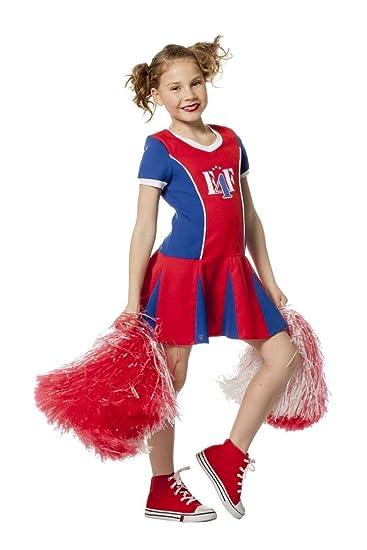 Kinder Kostum Cheerleader In Rot Blau Karneval Fasching Gr 140