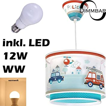 LED Lampe Kinderzimmer Decke Pendelleuchte Feuerwehr 60612 Dimmbar ...