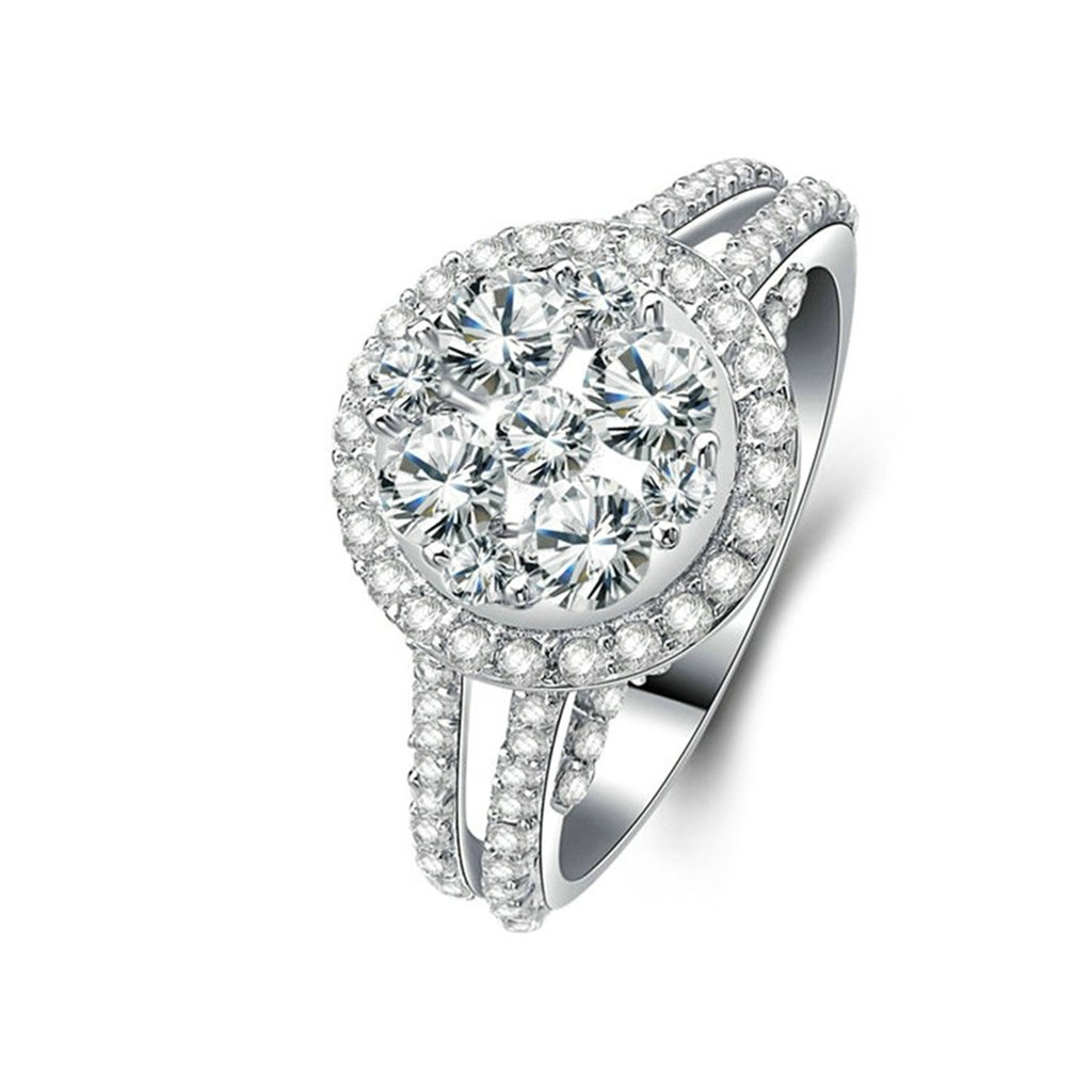 Bishilin Silver Plated Cubic Zirconia Inlaid Women Wedding Rings With No Centre Stone Size 8