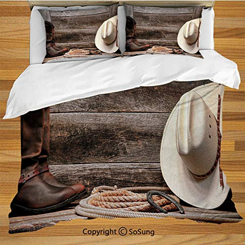 Western King Size Bedding Duvet Cover Set,Authentic American Rodeo Items Lasso Hat Boots Horseshoe Rustic Wooden House Decorative Decorative 3 Piece Bedding Set with 2 Pillow Shams,Brown Cream Tan ()