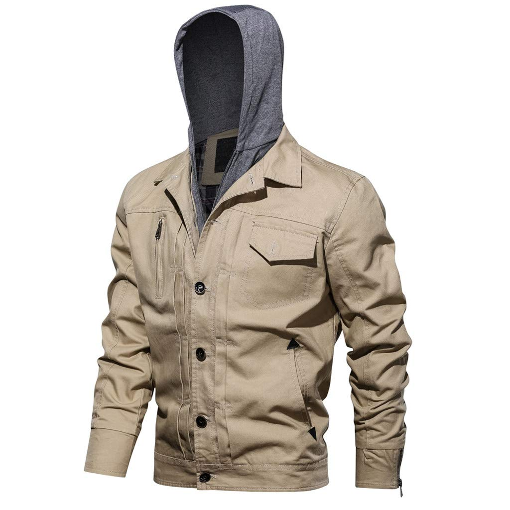 Men's Military Hoodie Jacket, New Style Lightweight Full Zip Up Sports Outdoors Spring Coat Button Outwear with Pockets (XXX-Large, Khaki)