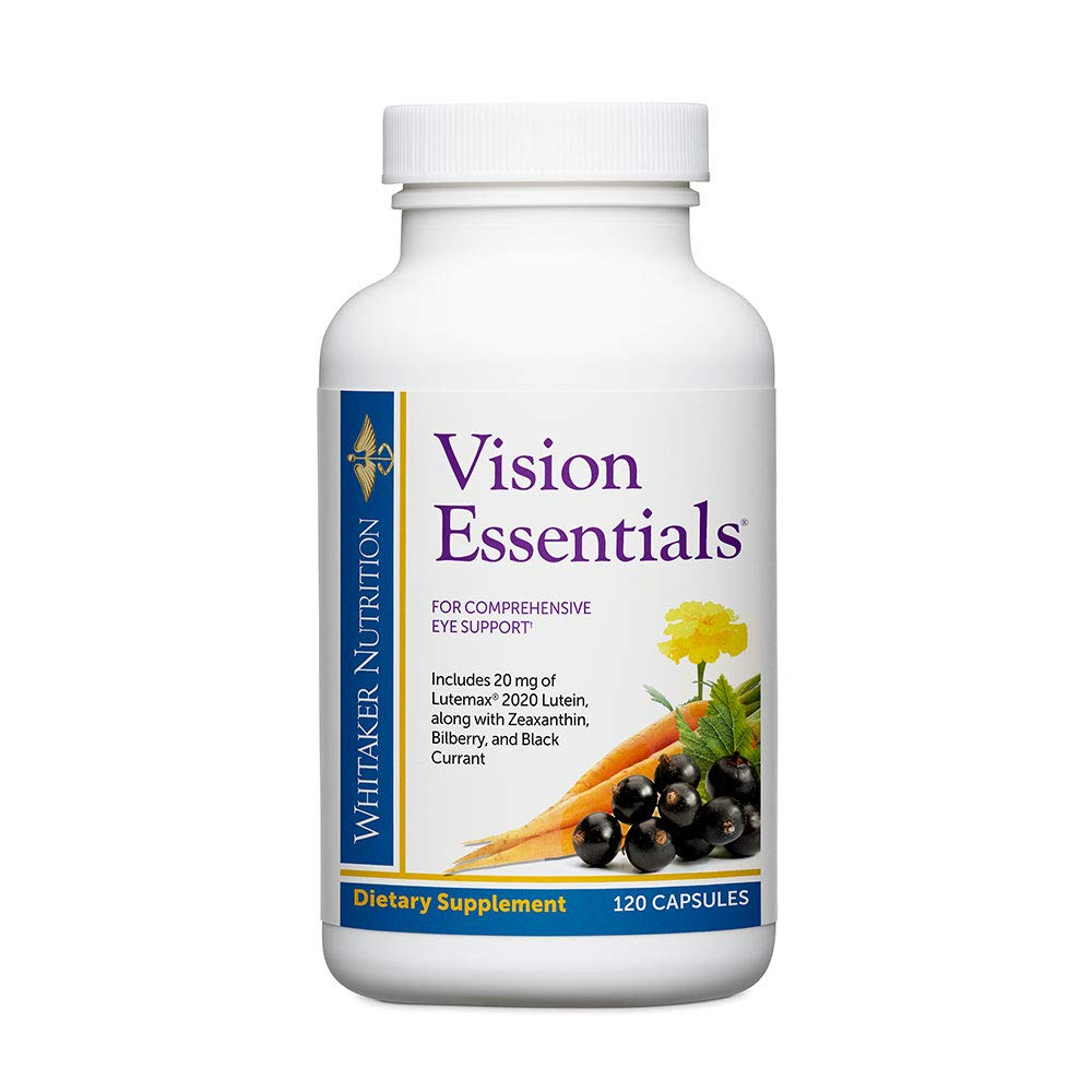 Dr. Whitaker's Vision Essentials with (20 mg) of Lutein and Black Currant Plus 16 Powerful Nutrients for Total Eye Health, 120 Capsules (30-Day Supply)