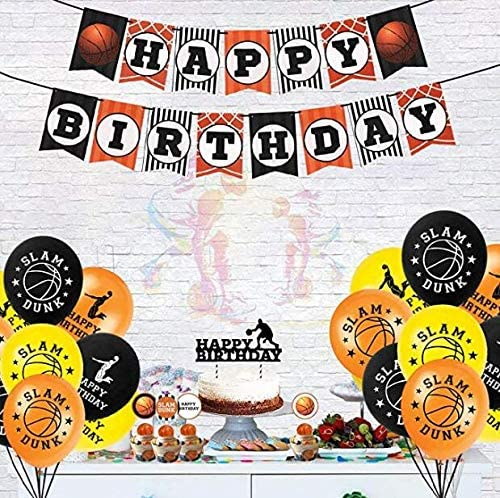 balloons,Coil Basketball theme party decoration flag baby birthday cake luxury suit,include birthday flags,24 pcs cake inserts,basketball big card