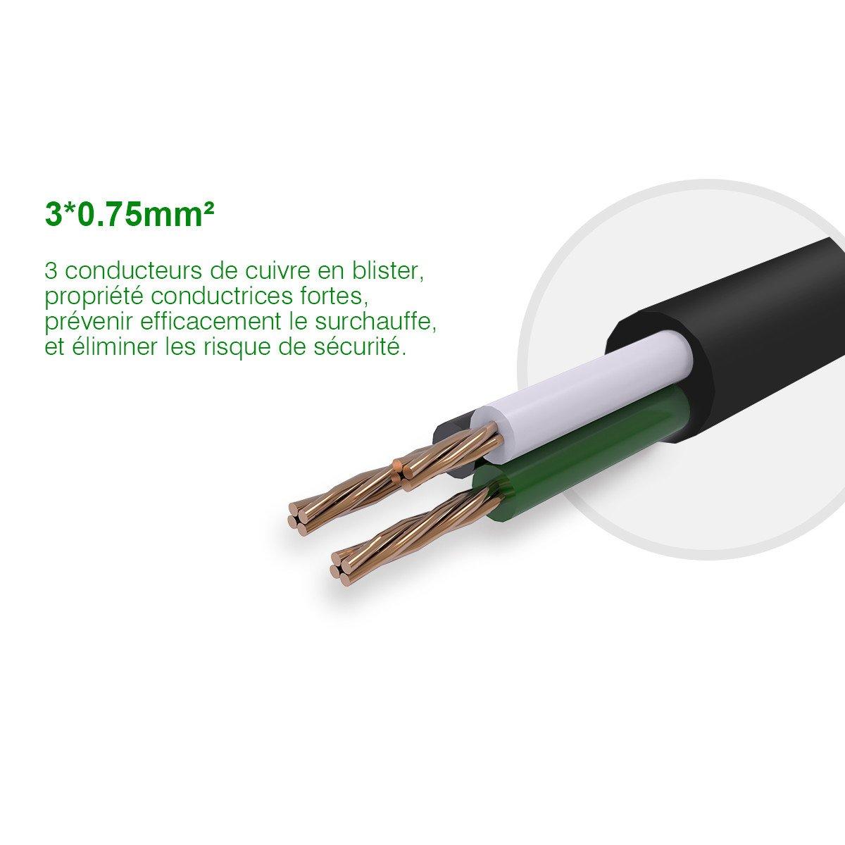 Poweradd Multiprise Parasurtenseur / parafoudre 3 Strip avec 3 ports USB de recharge, cordon 1.8 mètres