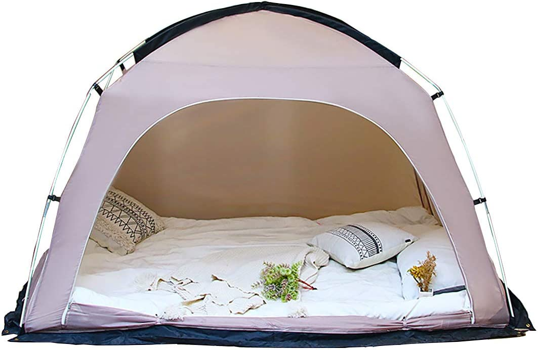 DalosDream Canopy Privacy Bed Tent Shelter Queen Size Indoor Pop Up Portable Frame Curtains Sleeping Tents for Warm and Dream (Mattress Not Included)