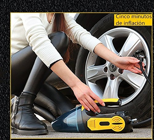 4-in-1 Car Vacuum Cleaner,Tire Inflator Air Compressor, Tire Pressure Gauge,LED light Portable Wet and Dry 12V 120W Handheld Long-Nose For Car with 18.85 inch Power Cord With HEPA (vacuum cleaner) by Pandamen NLH (Image #3)'