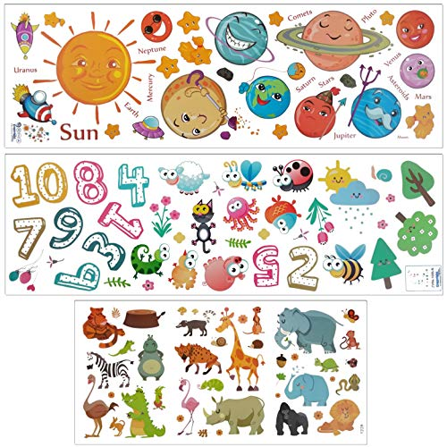Three Kids Wall Decor Wall Decals Stickers for Nursery Solar System Planets - Numbers - Insects - Animals Removable and Waterproof Peel and Stick Vinyl Wall Decor for Bedroom Nursery Living Room ()