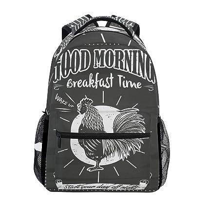 a2fe2d92e3 Vintage Breakfast Sign Cock Backpack Waterproof School Shoulder Bag Gym Backpack  Black White Animal Laptop Bag