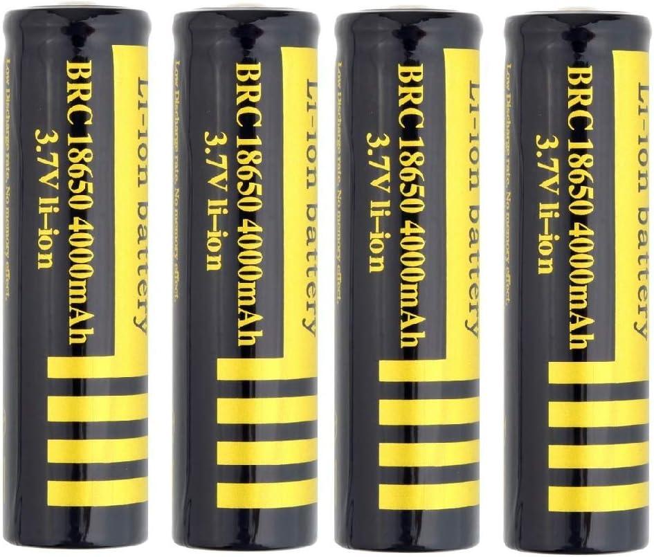 2//4 PCS 18650 Batterie 3.7V 4000Mah 18650 Hochleistungs Akku Wiederaufladbare Li-Ionen-BatterieButton Top Battery Pour f/ür LED-Fernbedienung Elektronische Ger/äte Spielzeug Digitalkameras 2 PCS