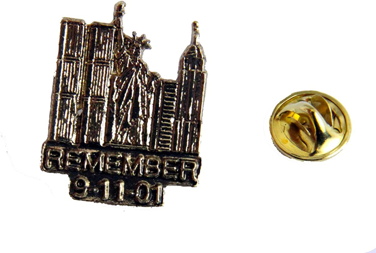 9//11//01 TWIN TOWERS /& STATUE OF LIBERTY COMMEMORATIVE PIN
