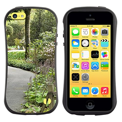 All-Round Hybrid Rubber Case Hard Cover Protective Accessory Gerneration-I Compatible with Apple iPhone 5C - Plant Nature Forrest Flower 106