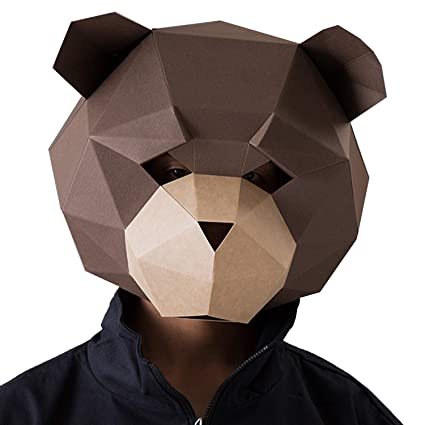 VIPbuy 3D Paper Mask Template Animal Head Mold DIY Low-Poly Paper Craft Kit  for Costume Cosplay Party (Teddy Bear Pattern)