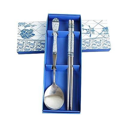 TININNA uego cubertería Infantil 2 Piezas con Esmalte, en Acero Inoxidable China Azul