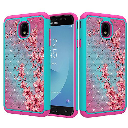 ZASE Design Case for Samsung J7 2018, J7 V 2nd Gen, J7 Refine, J7 Star Hybrid Dual Layer Protection [Jewel Rhinestone] Shockproof Sparkly Crystal [Bling Diamond] (Teal Cherry Blossom)