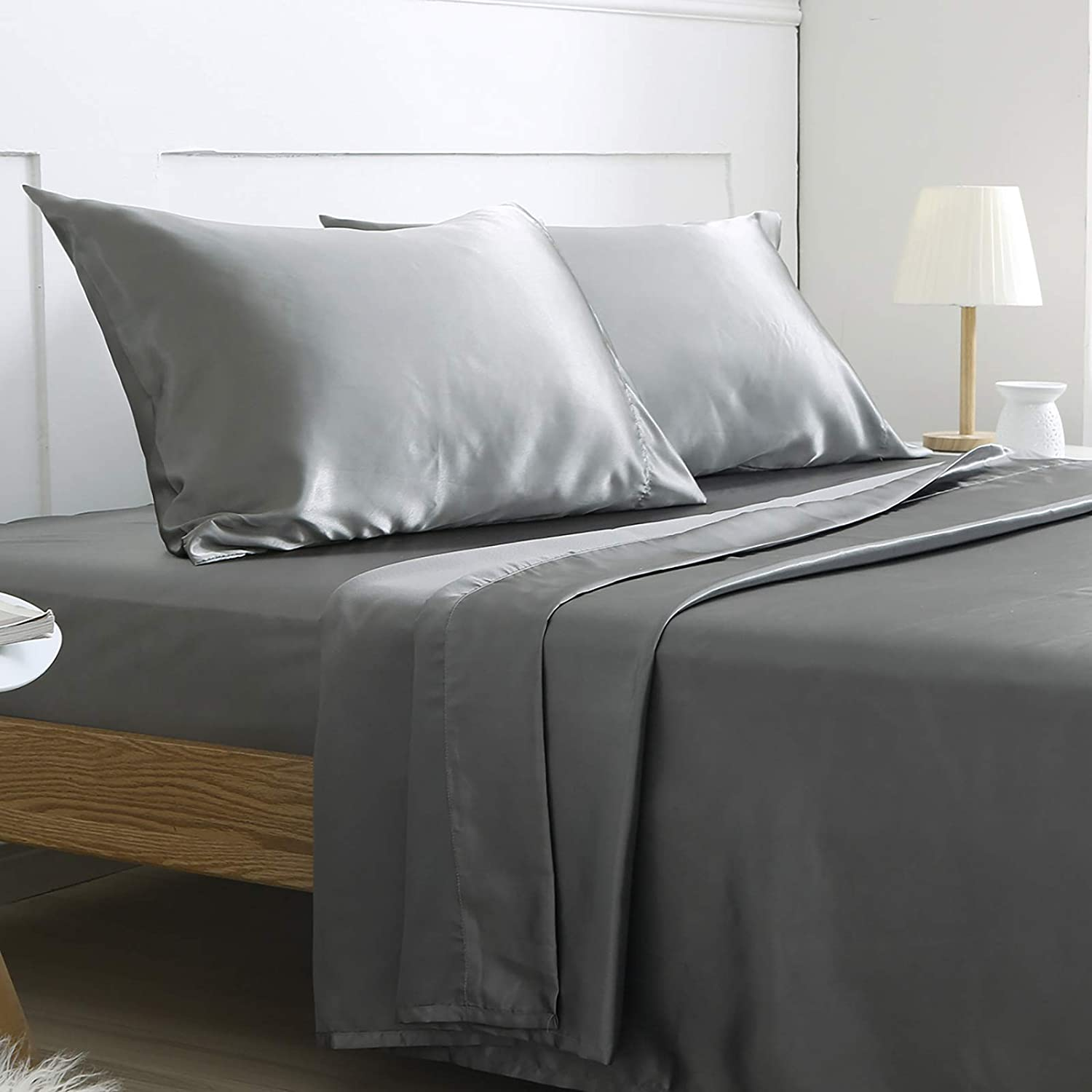 Vonty Satin Sheets Twin Size Silky Soft Satin Bed Sheets Taupe Satin Sheet Set,