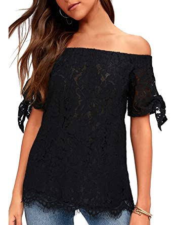 e0433c1f86e3e Blooming Jelly Womens Off Shoulder Tops Sexy Lace Shirt Elegant Short Tie  Sleeve Blouse(Small