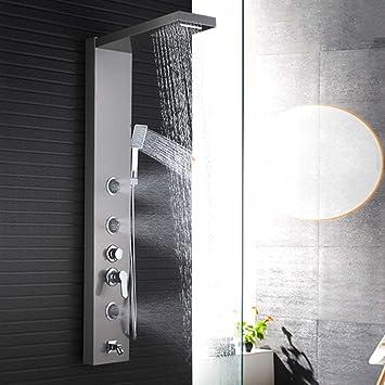 Wall Mount Luxury Shower Panel LED Shower System Tower Massage Jets Hand Sprayer