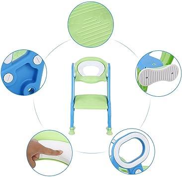 con escaleras ajustables antideslizante asiento suave Orinal de entrenamiento para aprender a ir al ba/ño a partir de 1 a/ño universal plegable