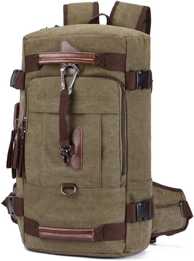 Color : Coffee Color LHQ-Camera Bag Men//Women Durable Backpack Daypack Waterproof Vintage Zipper Canvas Outdoor Hiking Camera Bag