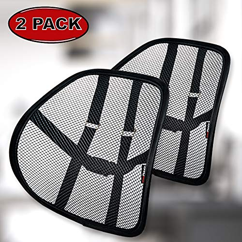 Lumbar Support with Double-Layer Mesh, Mesh Back Support Cushion for Car Seat Office Chair by Kingphenix (Black, 2 Pack) ()