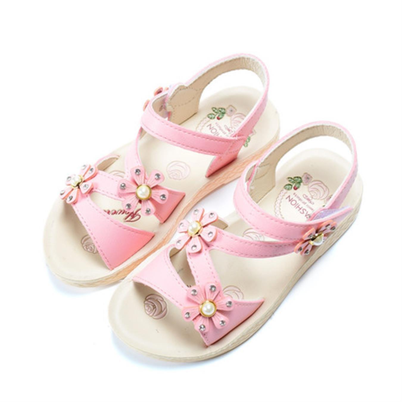 Kids Girls Summer PU Leather Beautiful Flower Pearl Princess Shoes Sandals