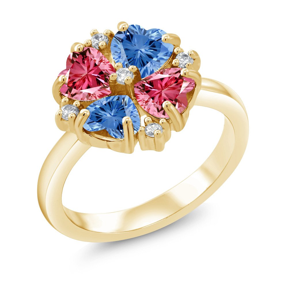 Gem Stone King 18K Yellow Gold Plated Silver Ring 5mm Made with Fancy Blue Swarovksi Zirconia