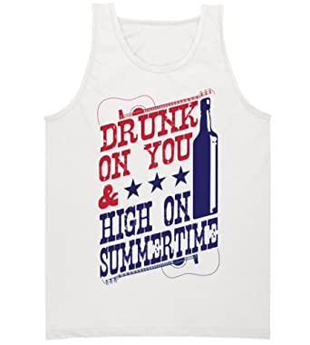 01cee08d2ecfb9 Amazon.com  Ladies  Drunk on You   High on Summertime  Tank Top ...