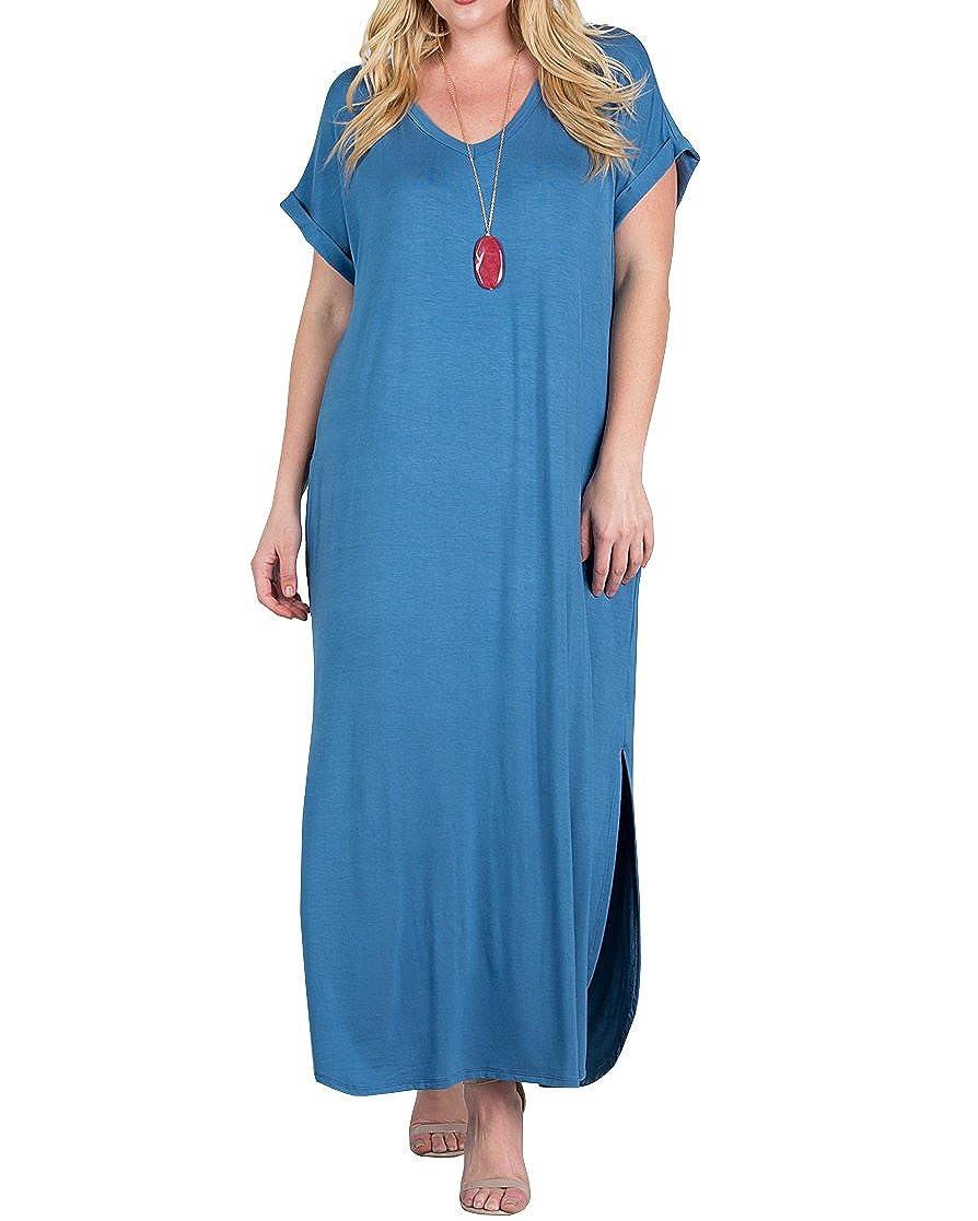 b59246c5b18 Women s Plus Size Maxi Dresses Short Sleeve Casual Summer Plain Tie Dye  Split Long Dress with Pockets at Amazon Women s Clothing store