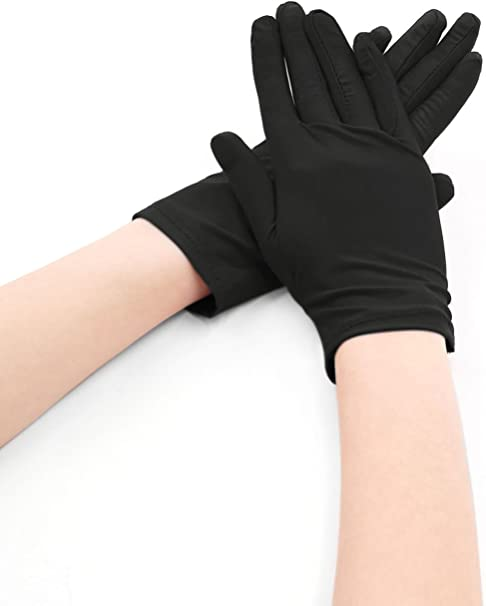 Medium Womens Black Elbow Length Synthetic Leather Gloves Fits a Size 7