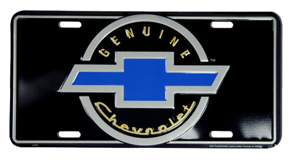 Tromic USA Chevy Blue Bowtie On Black 6 x 12 Embossed Aluminum License Plate