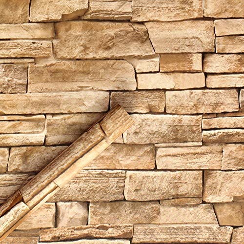 Proof Obverse Like - HaokHome 1619 Faux Stone Peel and Stick Wallpaper Lt.Grey/Sand Self Adhesive Contact Paper