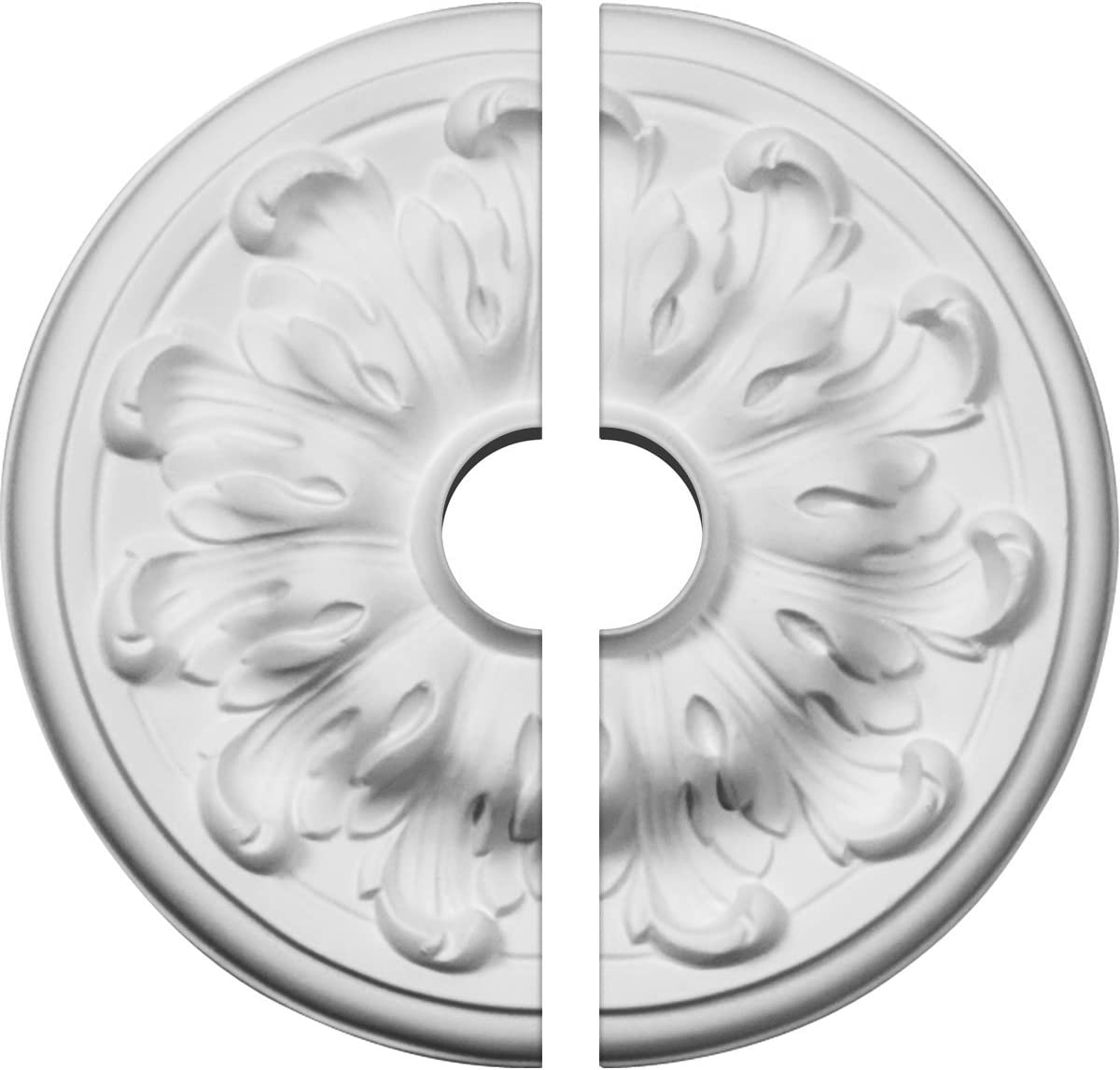 Factory Primed White Two Piece Ekena Millwork CM08MU2-01500 7 7//8OD x 1 1//2ID x 1//4P Millin Ceiling Medallion Fits Canopies up to 2 Two Piece Factory Primed White Fits Canopies up to 2
