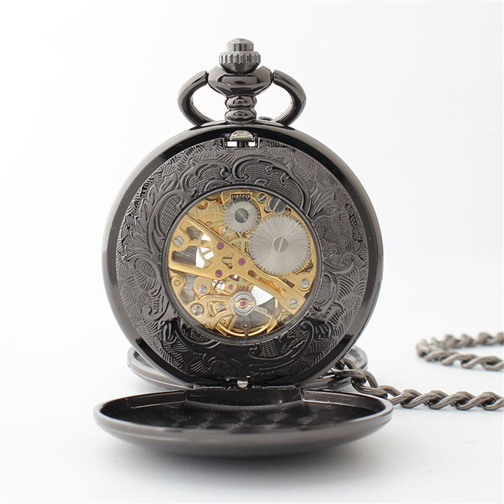 Zxcvlina Classic Smooth Creative Black Mechanical Pocket Watch Boutique Smooth Watchcase Double Open Retro Unisex Pocket Watch with Chain Suitable for Gift Giving by Zxcvlina (Image #5)
